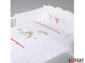 Set lenjerie brodata 5 piese Night Birds - pink