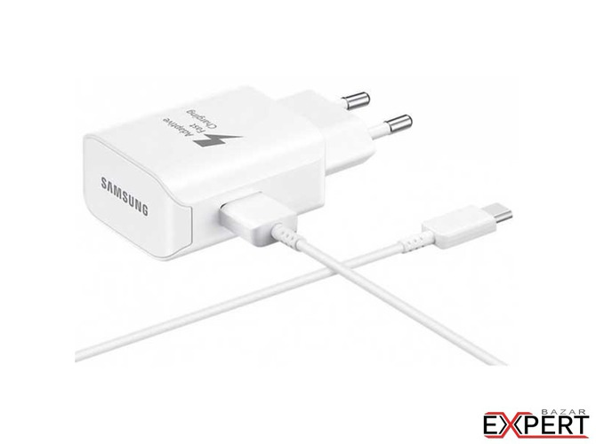 Incarcator retea Samsung Fast Charger USB Type-C 2.1A, cablu inclus, Alb
