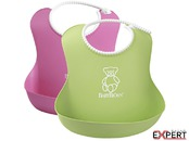 Set 2 bavete Soft Bib, Pink/Green