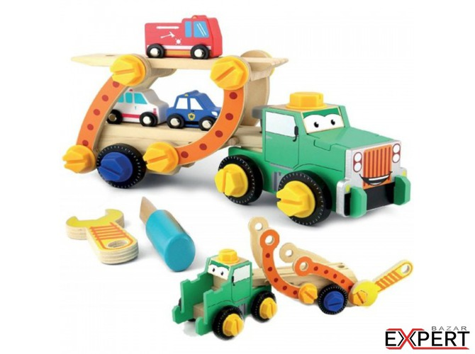 Camion transportor demontabil din lemn Smily Play